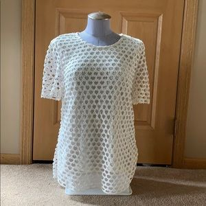 Ann Taylor Ivory Lined Short Sleeve Top EUC